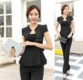 Terninhos formais preto elegante 2015 estilo uniforme de verão de negócios mulheres calças ternos escritório senhoras Blazers jaqueta e calça