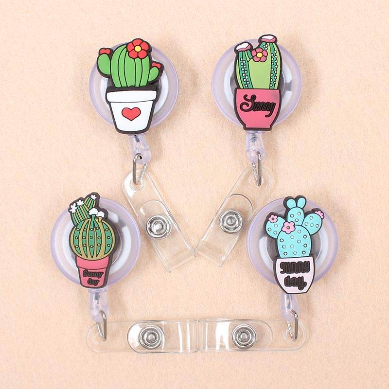 New Cartoon 60cm Silicone Cactus Retractable Badge Reel Student Nurse Exhibition Enfermera Name Card Chest