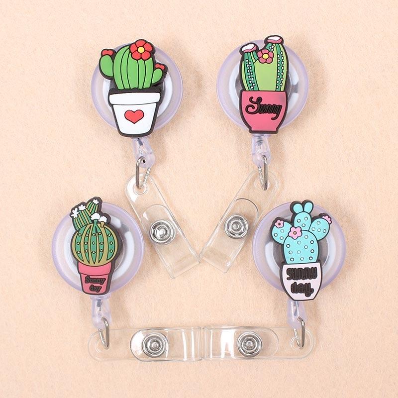 New Cartoon 60cm Silicone Cactus Retractable Badge Reel Student Nurse Exhibition Enfermera Name Card Chest