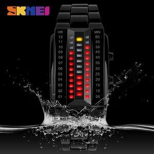Image 4 - SKMEI LED модные мужские часы Элитный бренд из нержавеющей стали спортивные цифровые наручные часы 50 м Водонепроницаемость Relogio masculino 1013