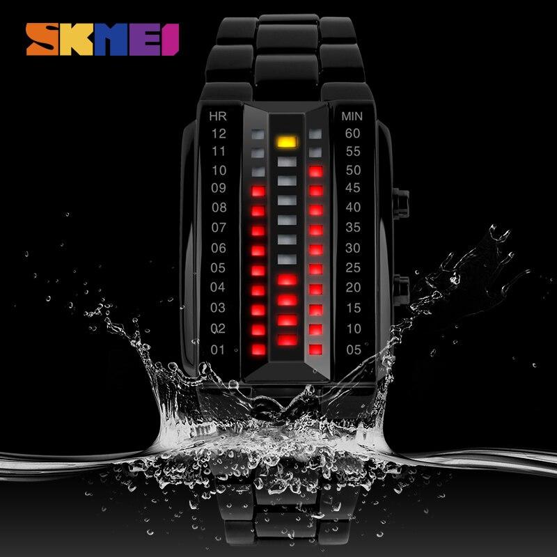 SKMEI Luxury Brand Creative Sport Watch Men Stainless Steel Strap 5Bar Waterproof Digital Watches reloj hombre 1013