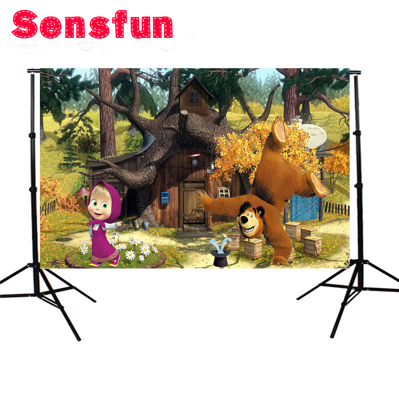 Sensfun Vinyl cartoon Masha and the Bear forest house photography backdrops for baby photo studio portrait 7x5ft sensfun where the wild things are dessert table backdrops custom photo studio backdrop background vinyl 7x5ft