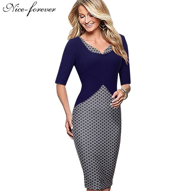 Nice-forever Elegant Lady Grid Stylish Casual Work Half Sleeve Mature V-Neck Bodycon Slim Women Office Pencil Women Dress B324