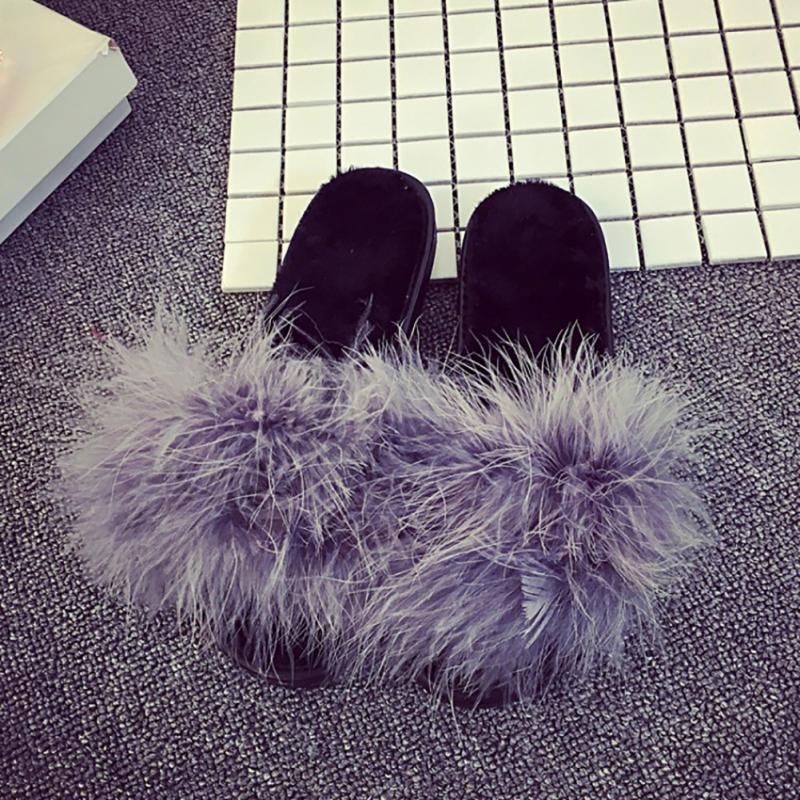 c33af410b33 2018 Hot Selling Fashion Women Fur Fluffy Marabou Mules Slip On ...