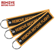 Newest Car Keychain Embroidery Remove Before Flight llavero moto  Key Chain Ring Holder for Aviation Gifts 3PCS/lot