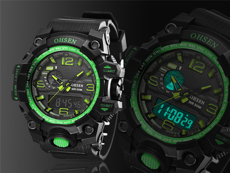 Trustful Mens Brand-name Mens Solar Alarm Digital Led 50m Watch Waterproof Mens Watch Dive Watch Military Analog Intelligence Watches