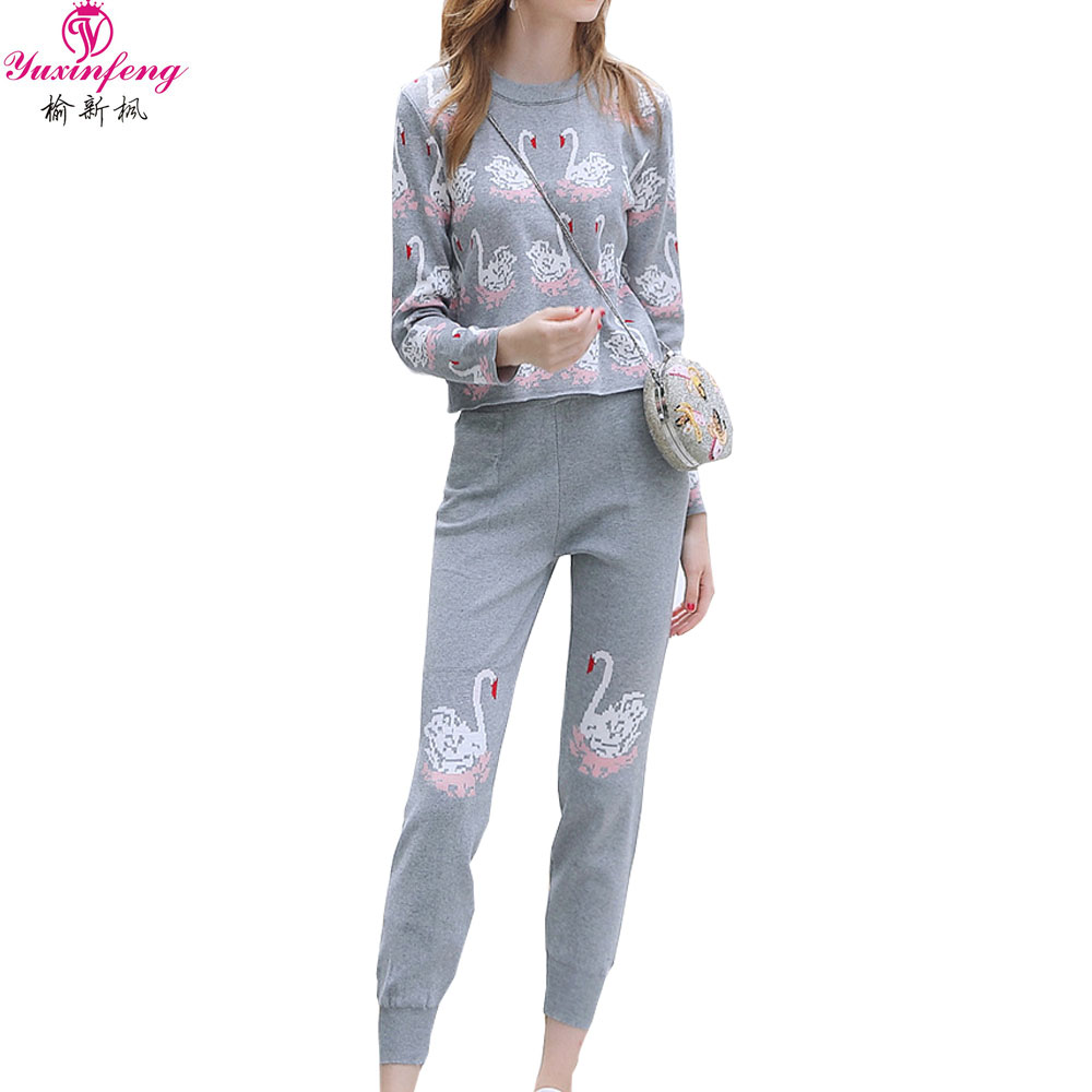 En Noir Femme Sport Costume Pièces Femmes Survêtement Casual Mode Pantalon Impression Costumes 2 Tricot gris Hiver 2019 Automne Yuxinfeng De qagTUAtU