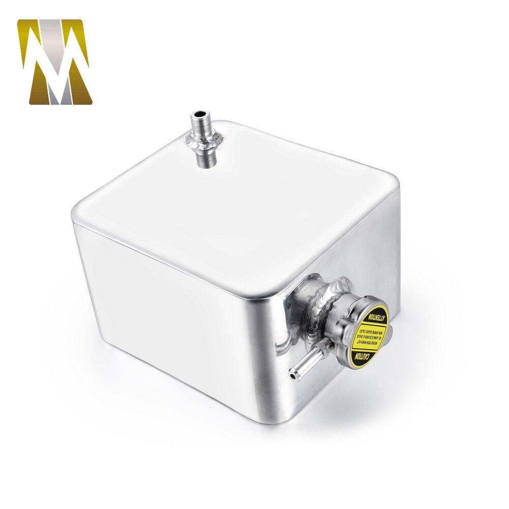 2L Litre argent poli en-tête Expansion réservoir d'eau et bouchon réservoir d'eau en-tête en Aluminium liquide de refroidissement trop-plein réservoir réservoir Kit