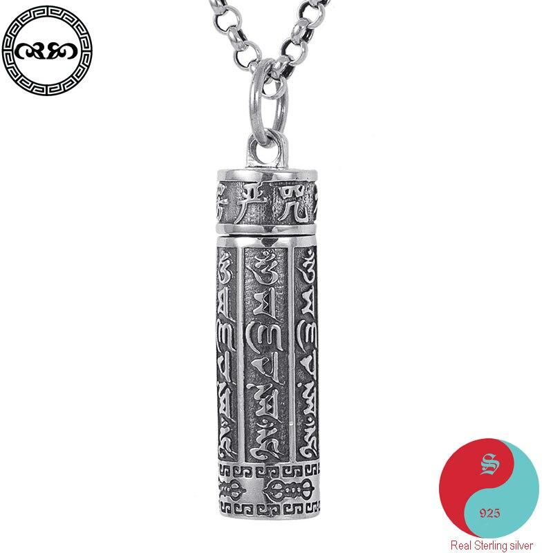 Rétro solide réel 925 argent Sterling collier parfum Tibet bouddha Om pendentif amulette Six mots Mantra collier sans chaîne