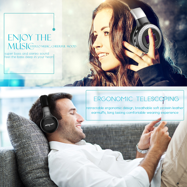 ZEALOT B19 Bluetooth Headphone Wireless Headset Over Ear FM Radio Micro SD Card MP3 Play With Microphone