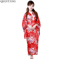 Red Classic Traditional Kimono Sexy Women Yukata With Obi Vintage Party Prom Dress Japanese Cosplay Costume One Size H0044 C