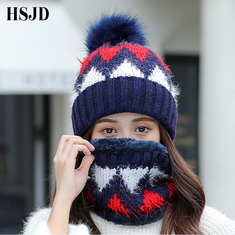 New Mohair Knitted Women's Hats Scarf 2 Pieces Set Diamond Lattice Winter Hat Female Thick   Skullies     Beanies   Girl Ski Pompom Hat
