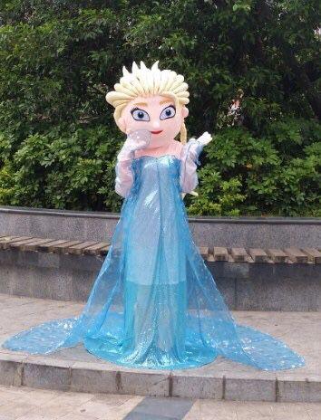 100% de vraies photos!! 2017 nouveauté adulte elsa mascotte Costume fantaisie robe Costume dessin animé mascotte elsa mascotte