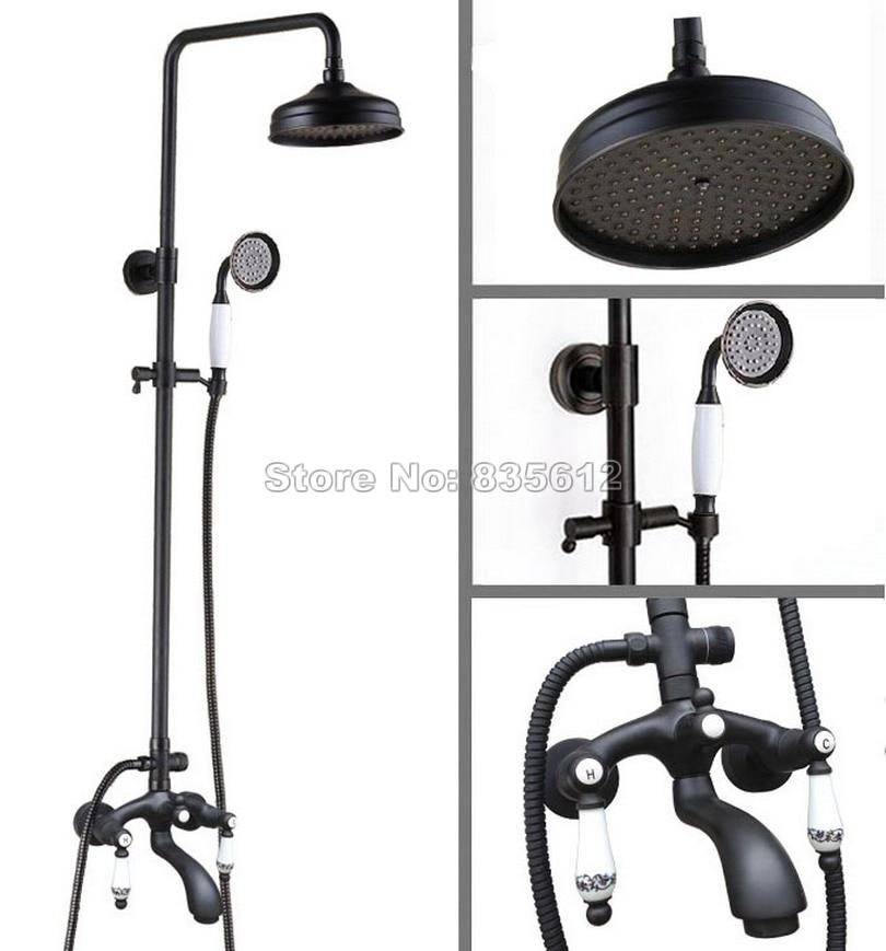 Dual Ceramic Handles Rain Shower Faucet Set Black Oil Rubbed Bronze Bathroom Wall Mounted Bath Tub Mixer Tap Whg132
