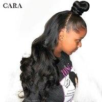 Бесклеевого WigsPre сорвал Full Lace натуральные волосы парики с ребенком волос для Для женщин 250% черный бразильский Remy волна CARA