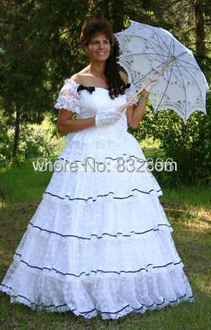 Seconds Kill Direct Selling Natural Satin Floor-length Ball Gown Slash Neck The Civil War Era Gorgeous Gown / Party Dress