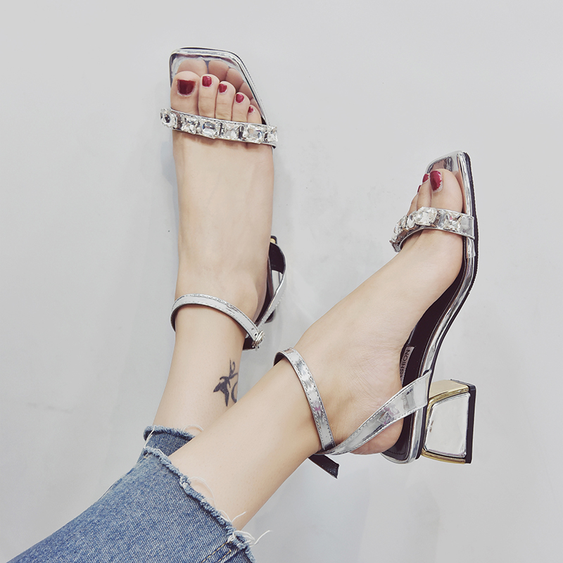 Rimocy elegant womens crystal straps sandals 2019 fashion rome style thick high heels summer shoes woman silver black sandaliasRimocy elegant womens crystal straps sandals 2019 fashion rome style thick high heels summer shoes woman silver black sandalias