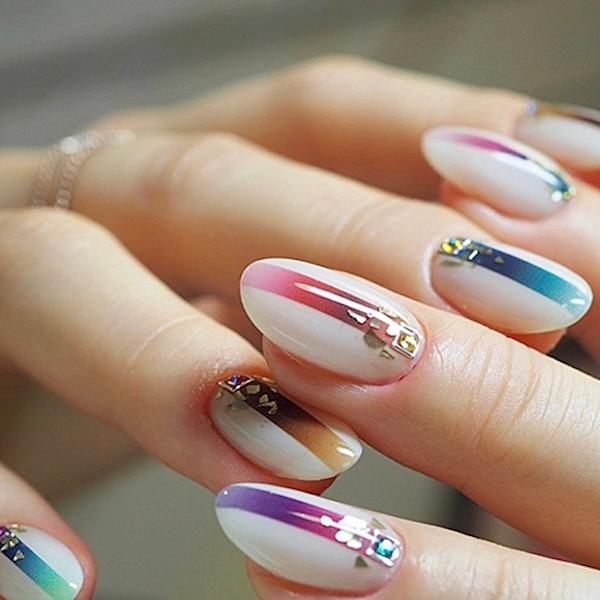 1 sheet Gradient Nail Striping Tape Colorful Lines 3D Nail Polish Stickers Adhesive Nails Strips DIY For Nail Art Decorations 1