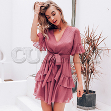 CUERLY Sexy v-neck polka dot women dress Summer style layer ruffle chiffon short sundress Elegant zipper holiday vestidos 2019