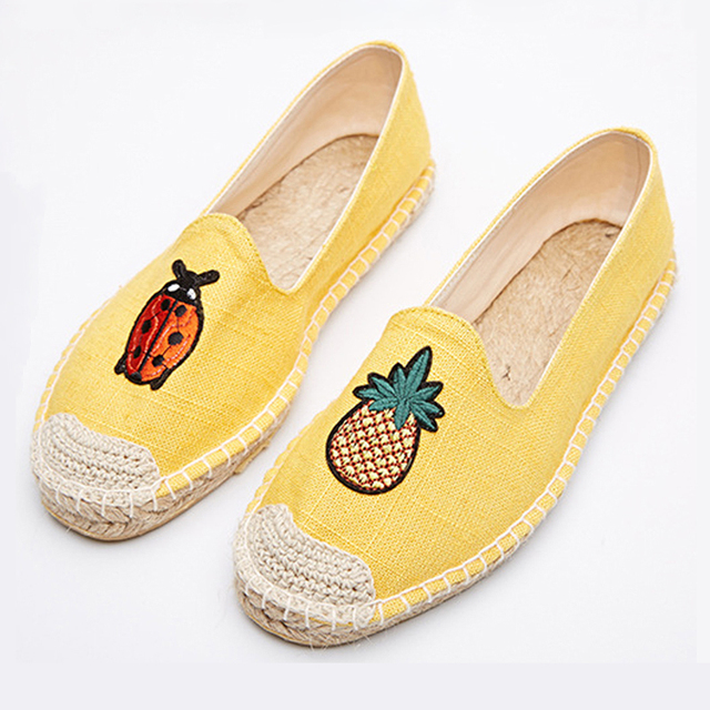 LALA IKAI women Espadrilles shoes with ladybug pineapple Linen embroidery casual a pedal lazy loafers straw flats XWA0446
