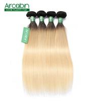 1B 613 Ombre блондинка бразильские прямые волосы пучки 2 тона темные корни платины Remy человеческие волосы Weave 4 Связки Aircabin волос