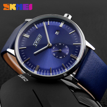 Fashion Casual Quartz Horloge Voor Mannen Luxe Merk Klassieke Lederen Band Horloges mannen Business Horloge SKEMI 9083(China)