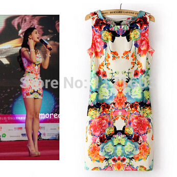 2014 Summer New Hot Sexy Dress O Neck Sleeveless V...
