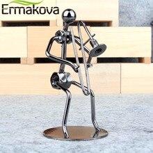 ERMAKOVA 5.1″ Metal Musician Trombone Player Sculpture Instrument Iron Man Figurine Statue Cafe Counter Office Book Shelf Decor