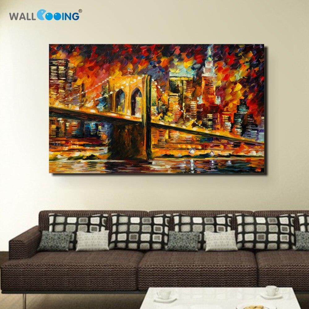 100% ručně malované krajiny olejomalba města plátno umění bar kavárna na obraze je Brooklynský most v New Yorku obrázky