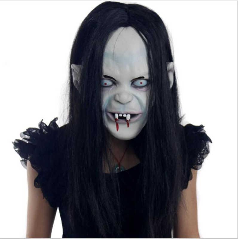 Horror Strega di Halloween Maschera Maschera di Halloween Del Partito di Travestimento In Lattice di Gomma Maschera Maschera Del Fantasma Sadako Rancore di Copertura Nero Maschera Maschere Zombie. L