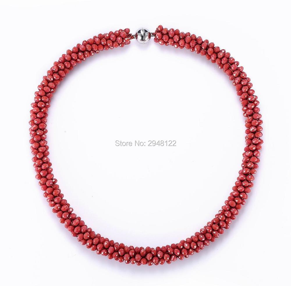 BEADSLAND Handiwork Crocheted Classic Glass Beads Necklace ...