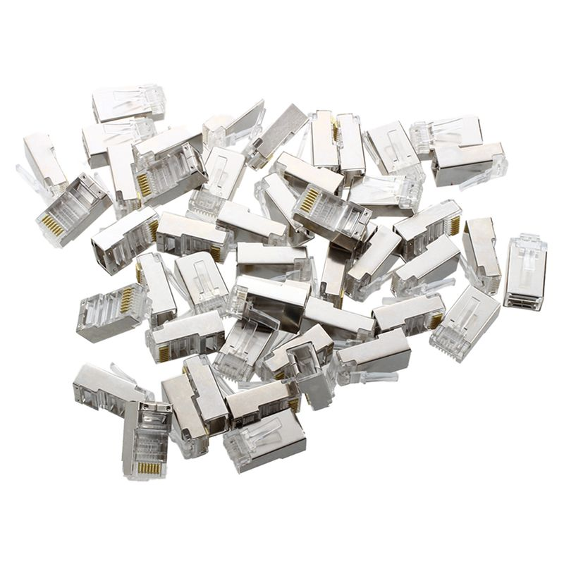 50 Pcs Silver Tone Shielded RJ45 8P8C Network Cable CAT5 End Plug