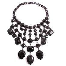 Black gem brand metal alloy necklace crystal rhinestone women tassels pendant necklace jewelry RC15082687