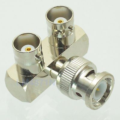 Adapter 5pcs 90 BNC male plug to 2x BNC female Rakes RF Splitter connector 1M2F 5pcs lot 2 1 x 5 5mm bnc connector dc
