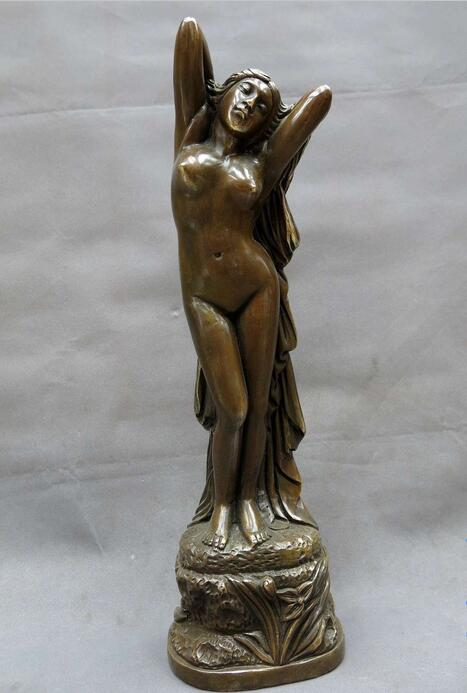 free 17 China brass copper carved beautiful belle sculpture Sexy beauty Statue fast