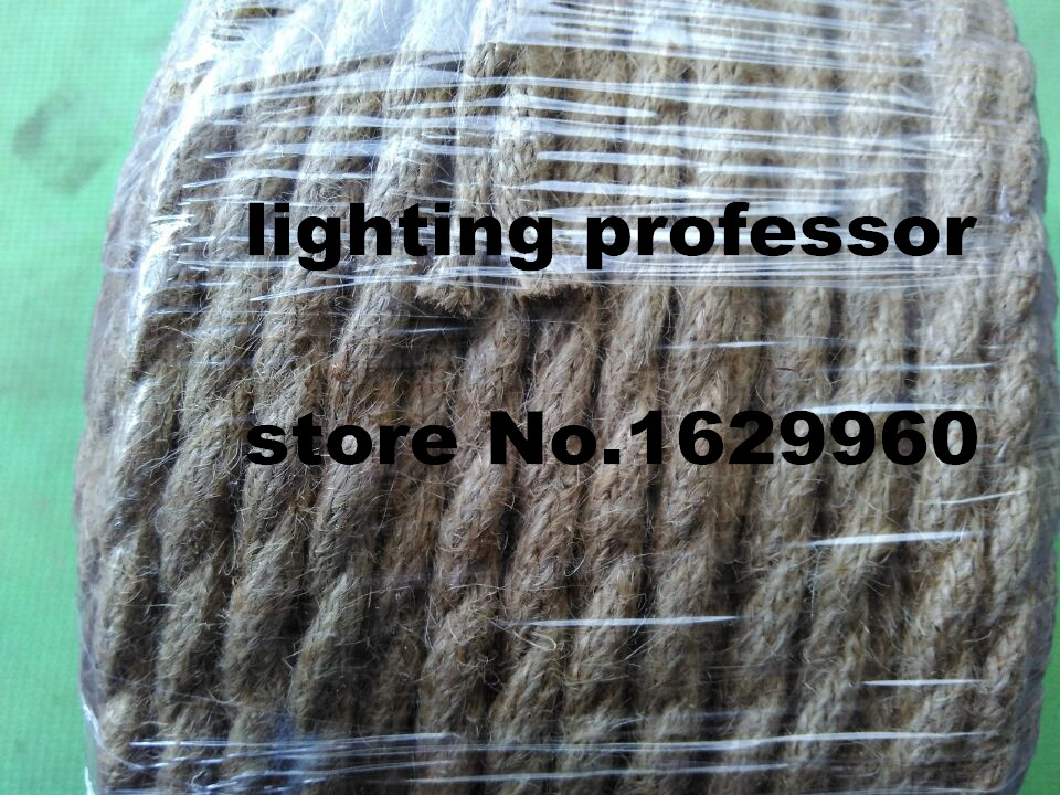 100 m 2 core rétro tressé électrique fil tissu câble bricolage pendentif lampe fil vintage chanvre corde torsadé câble métallique - 6