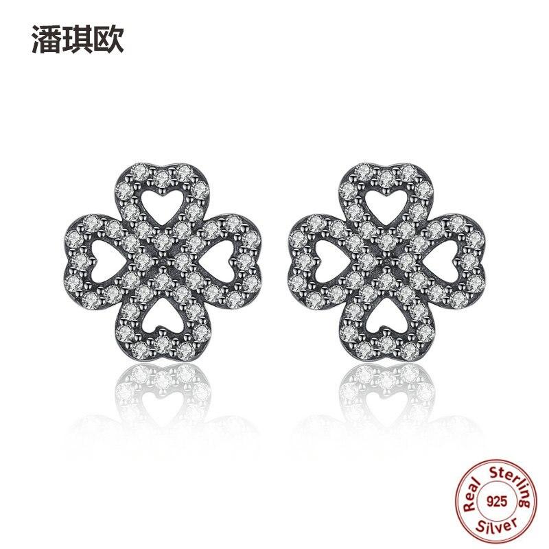 Fine Retro 100% 925 Sterling Silver Love Heart Clover Zircon Stud Earrings For Women Compatible with pan jewelery Earring