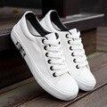 Горячие Продажи 2016 Дышащий Холсте Мужской Обуви Случайные Белый Флаг Обувь мужские Туфли На Платформе