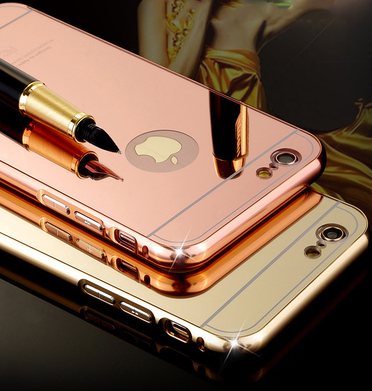 Mirror effect Plating case for iPhone 6s 6 Aluminum frame Protect back cover For iPhone 6s Plus / 6Plus Mobile phone housing