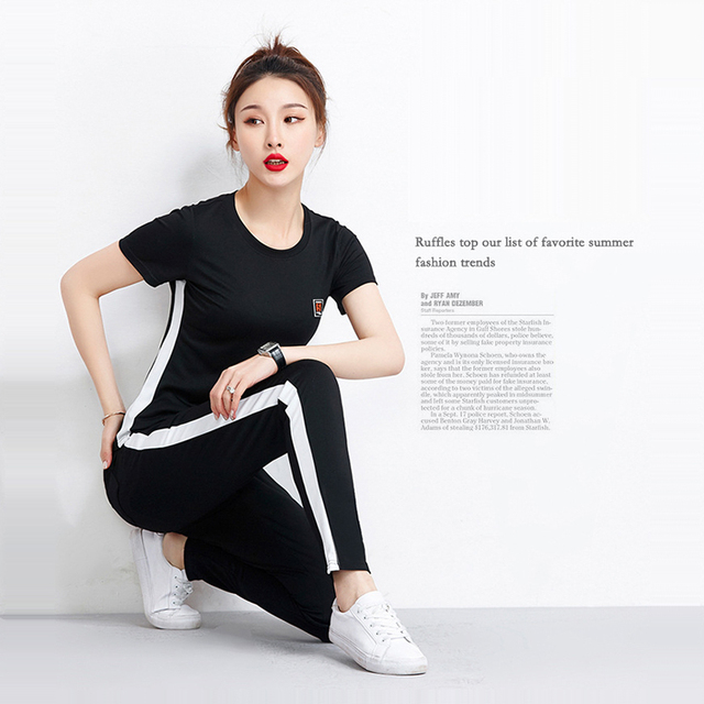 summer women s brand cotton fabric sportswear cotton suit women s track and  field suit with T-shirt and pants size M- XXXL da6abc4754