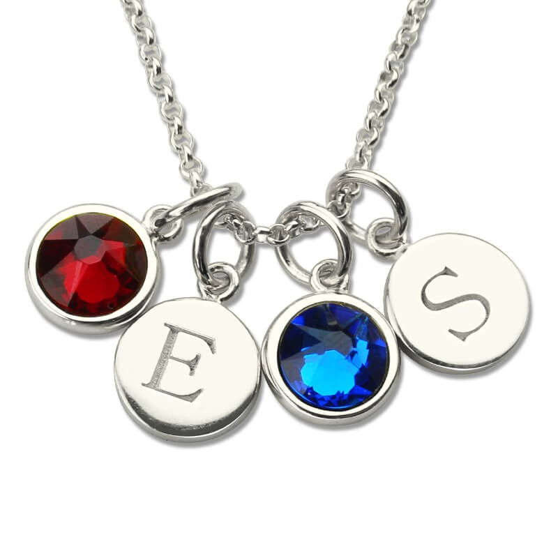 925 Sterling Silver Custom Necklace Personalized Letter Necklace Disc Necklace with Initial /& Birthstone