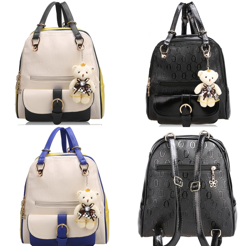 Women Shoulder Bag casual travel bag Leather Colors Fashion Women Backpack School Travel Bag With Bear