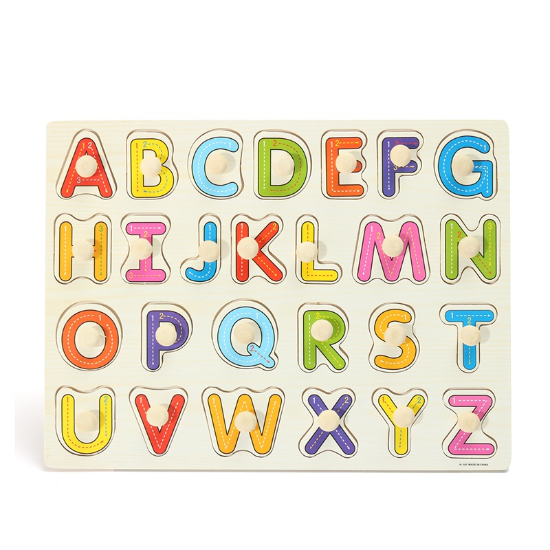 New Kid Education Toys Alphabet ABC Wooden Jigsaw Puzzle Toy Children Kids Early Learning Educational Game Gift