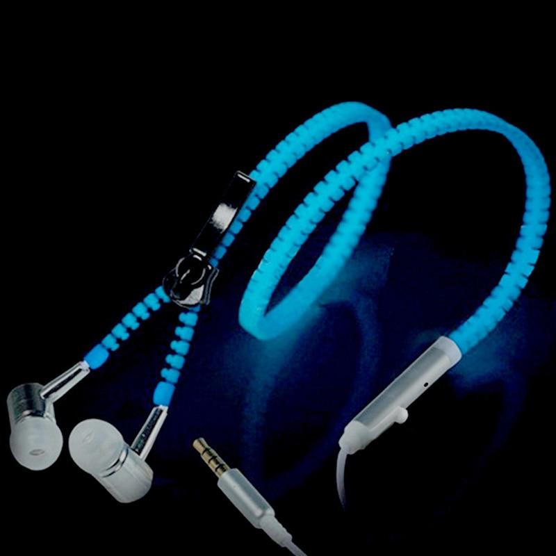 Hot Sports Earphones Headset Luminous Light Glow in the Dark Earphone Metal Zipper Headphones  with Mic for iPhone Sumsung hot sale glow in the dark earphones glow earbuds metal zipper glowing headset luminous light stereo handsfree with mic