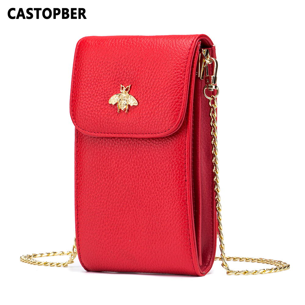 Women Messenger Bags Genuine Leather Crossbody Little Bee Bag Cowhide Chain Mini Cell Phone Bags Flap Ladies Cute Small Brand