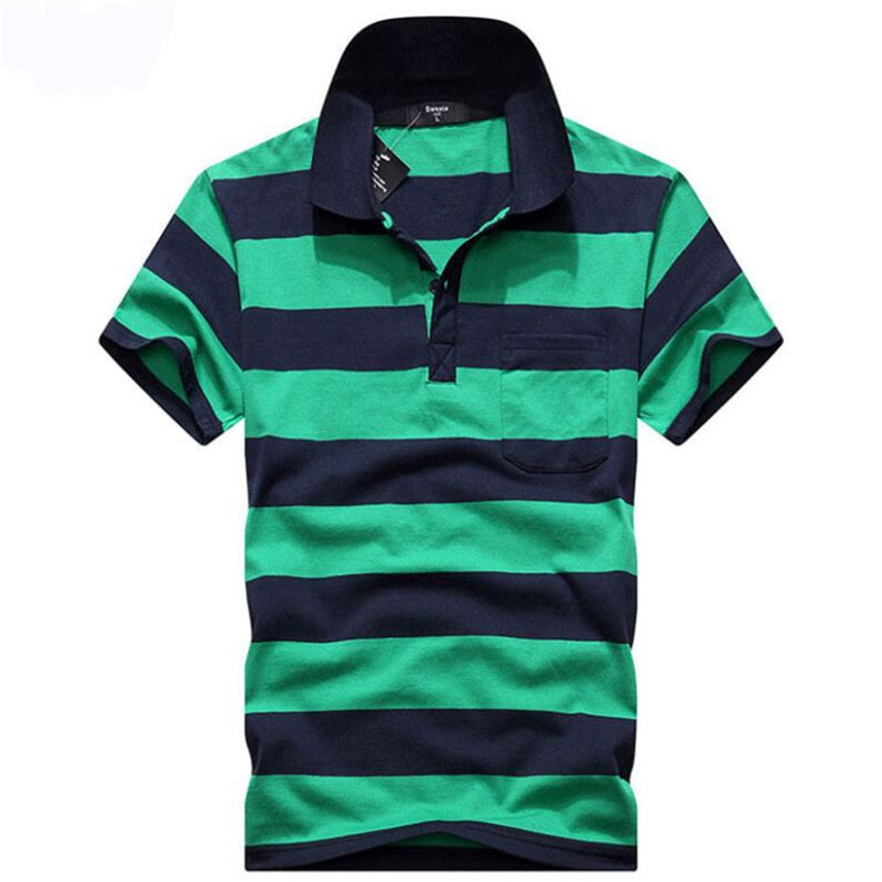 2018 Brand New   Polo   Hombre Shirt Men Fashion Slim Fit Striped Collar Shirts Short Sleeve Casual Camisetas Masculinas   Polo   Men
