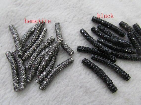 Venta al por mayor de 100 piezas 6x30mm Micro Pave Crystal strass Sideway tubo joyería conector curva Pave Bar joyería ESPACIADOR - 3