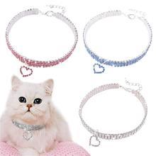Pet Хрустальный ошейник ожерелье с котенком Pet кулон Блестящий яркий в форме сердца кристалл алмаз украшения аксессуары для Тедди