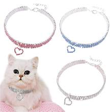Pet crystal collar Kitten necklace Pet Pendant Shiny Bright Heart Shaped Crystal Diamond Decoration Accessories for Teddy(China)