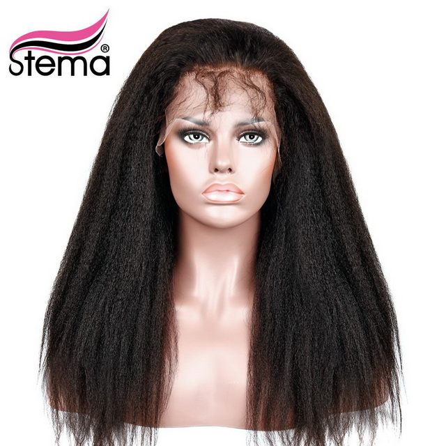 Stema Kinky Straight Full Lace Wig Pre Plucked 150% Density Brazilian Human Remy Hair Wigs for Black Women